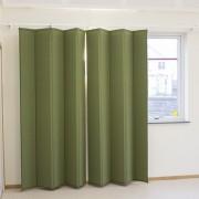 Ljuddämpande gardiner i grönt framför fönster