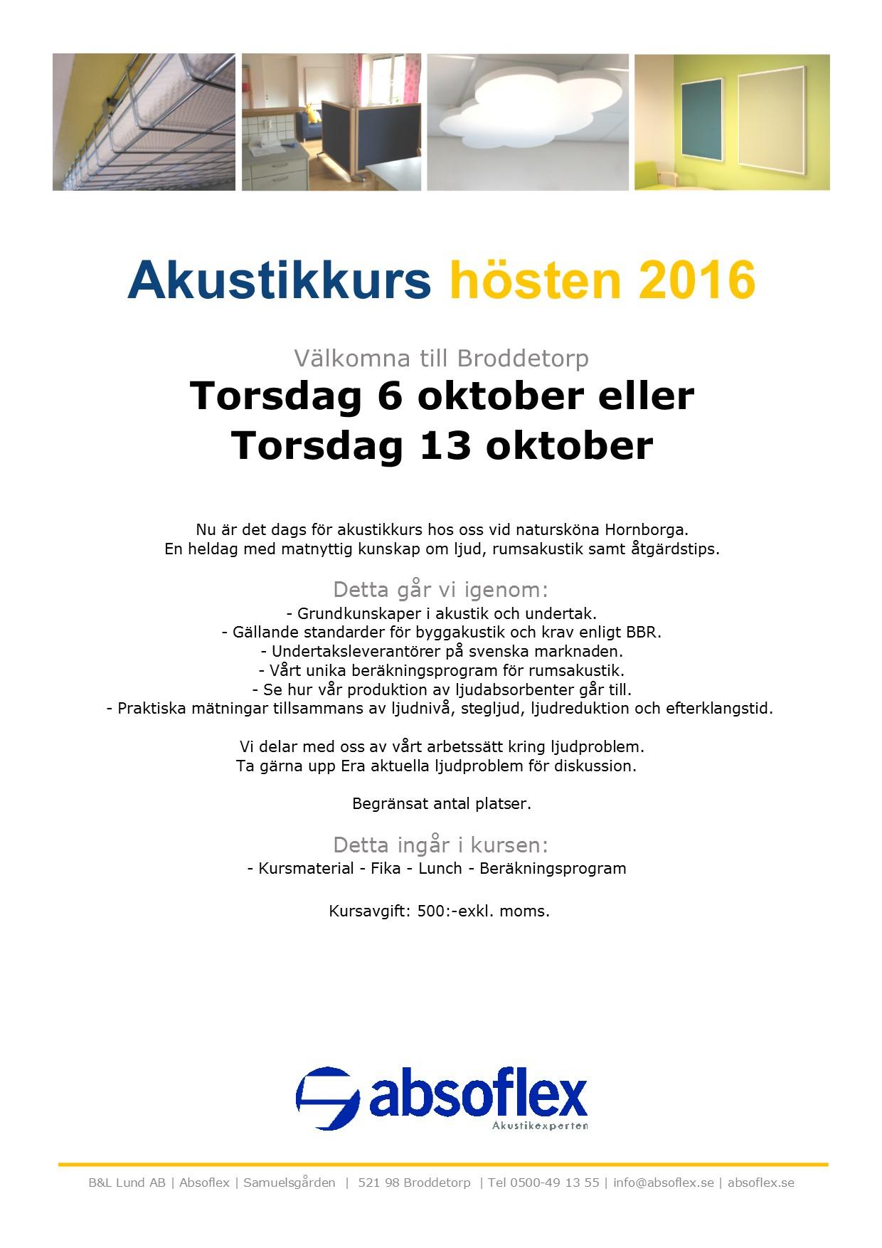Inbjudan akustikkurs hösten 2016