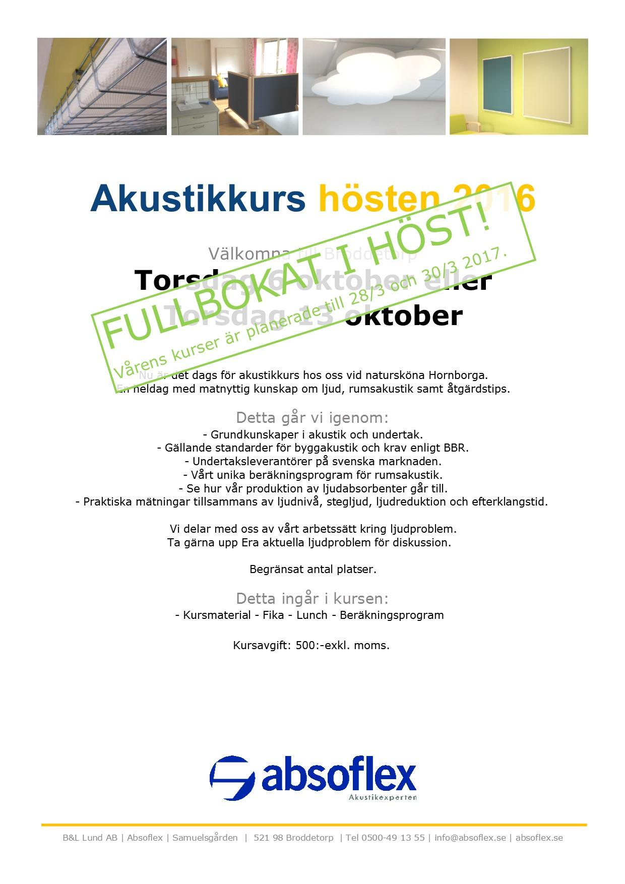 Akustikkurs hösten 2016 - FULLBOKAT
